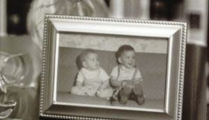 Black and white framed photo of boys Billy and Dave