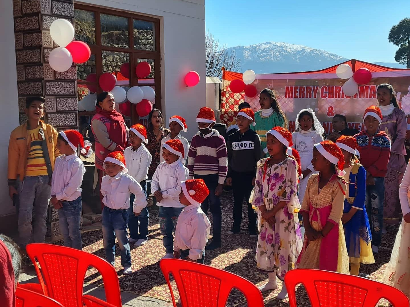 outdoor christmas celebration in indian village