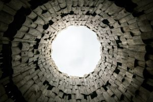 view from bottom of a well